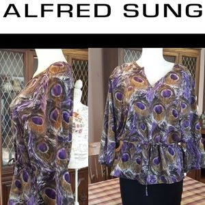 size M Pure Alfred Sung peacock pattern blouse